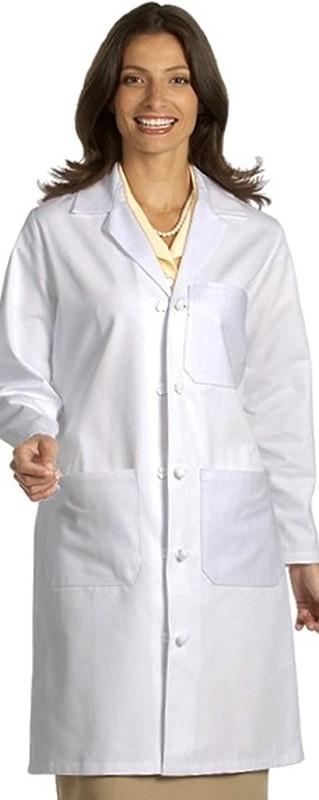 """437 Unisex 100% Cotton Cloth Knot Button 39½"""" Lab Coat"""