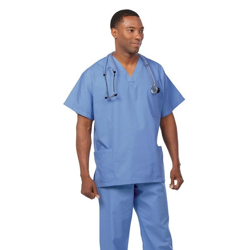 6497 True Red Fashion Seal Unisex V-Neck 3-Pocket Scrub Shirt