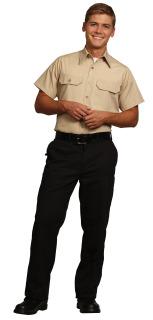 22077 Gray Unisex Lt Poplin SS Flap Shirt
