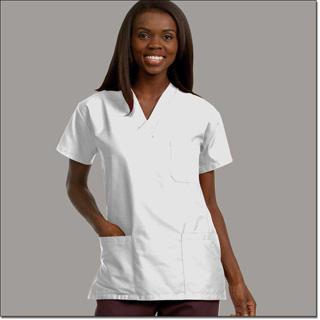 78758 Unisex FP White Scrub Shirt 3 Pockets