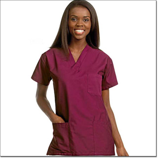 78761 Unisex FP Burgundy Scrub Shirt 3 Pockets