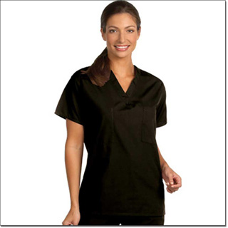 6601 Black Reversible Unisex Set-In Sleeve Scrub Shirt – Fashion Poplin