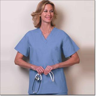 6717 Ciel Blue Fashion Seal Unisex Reversible Set-in Sleeve Scrub Shirt