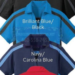 60300 60304 Brilliant Blue/Black Color Block Baby Pique Performance Polos Shirt 100% Polyester