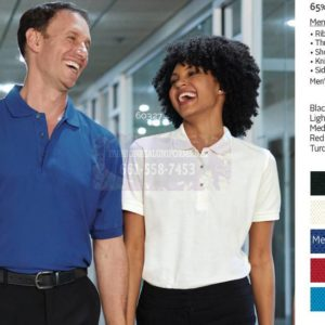 Men's & Women's Pique Polos 65%/Polyester/35% Cotton
