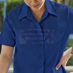 62495-97 Women's Short Sleeve Fineline Twill Woven Shirts 65% Polyester/35% Cotton
