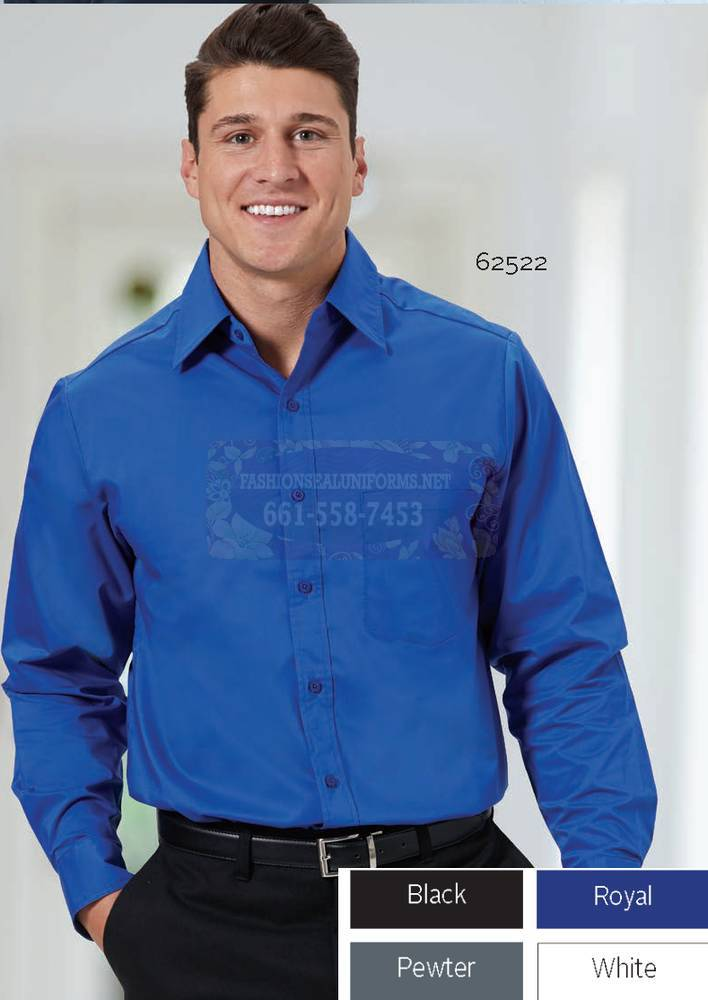 62521-62525 Men's Long Sleeve New Stretch Poplin Shirts