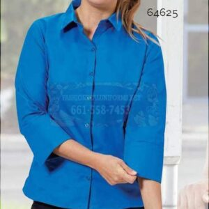 64634 White Ladies White Fineline Twill 3/4 Sleeve Maternity Shirt