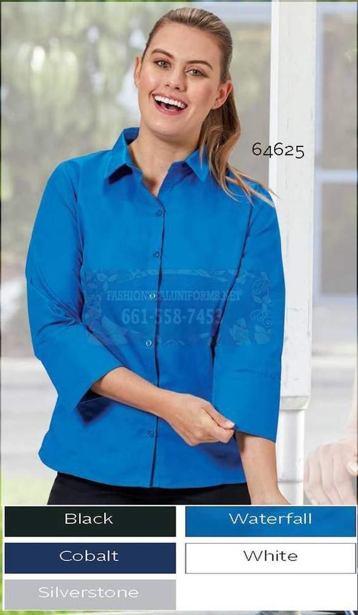 64634 White Ladies Fineline Twill 3/4 Sleeve Maternity Shirt