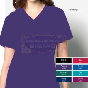 WWK101 Grape Women's V-Neck Top 65% Polyester / 35% Cotton
