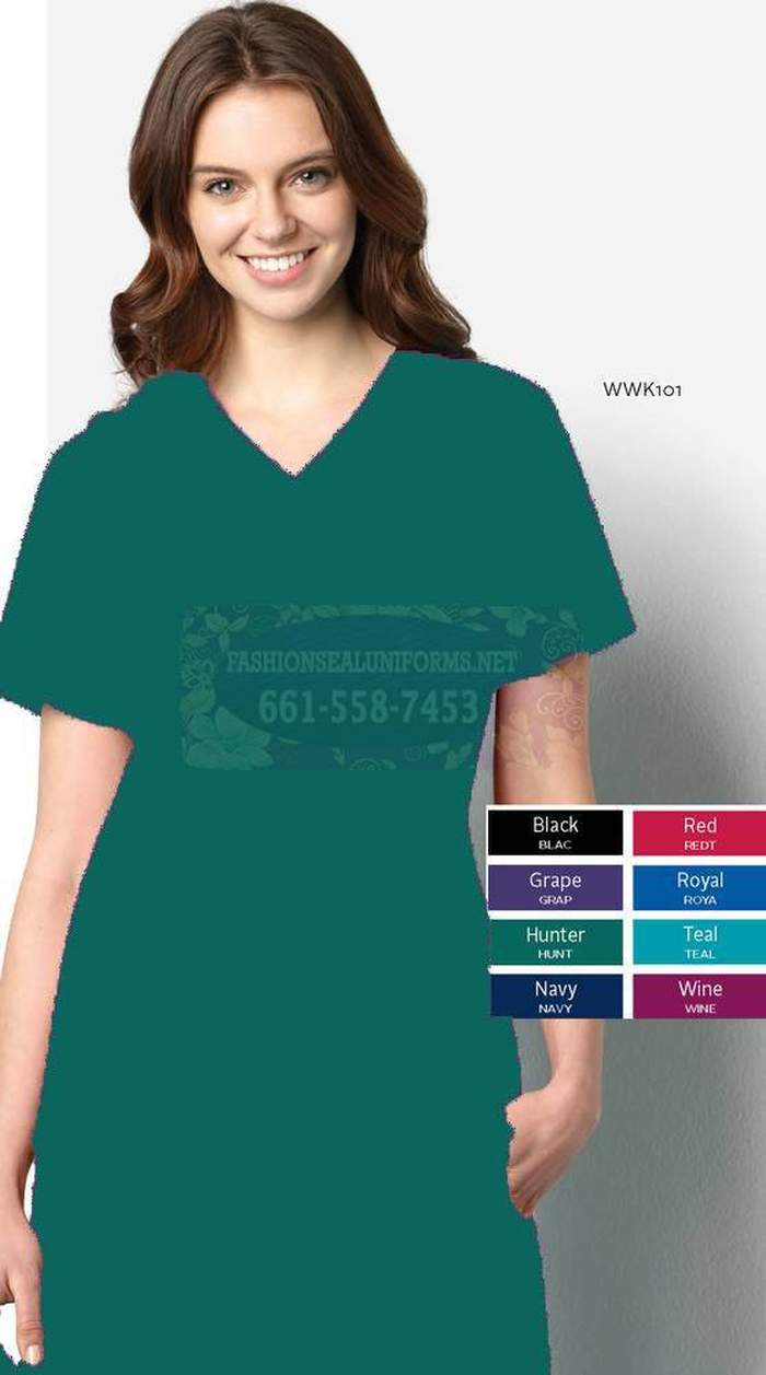 WWK101 Hunter Women's V-Neck Top 65% Polyester / 35% Cotton