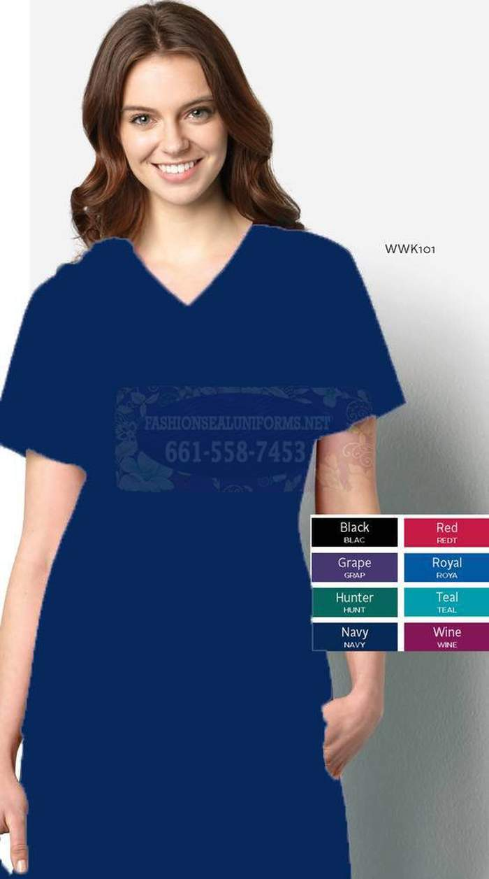 WWK101 Navy Women's V-Neck Top 65% Polyester / 35% Cotton