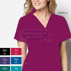 WWK102 Wine Women's Mock Wrap Top
